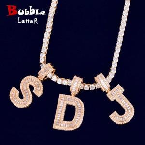Image 1 - Baguette Letters Hanger Met 4 Mm Tennis Chain Ketting Set Gouden Kleur Vrouwen/Mannen Hip Hop Fashon Sieraden