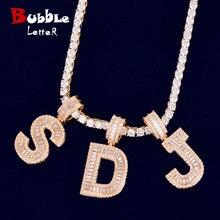 Baguette letras pingente com 4mm tênis corrente colar conjunto de ouro cor feminina/masculino hip hop fashon jóias