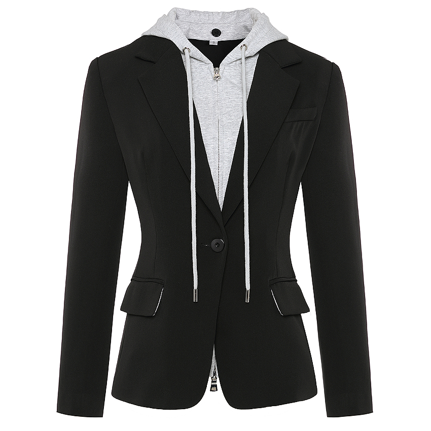 HIGH QUALITY Newest Fashion 2020 Designer Blazer Women's Zipper Detachable Hooded Single Button Casual Blazer Jacket Outer Wear