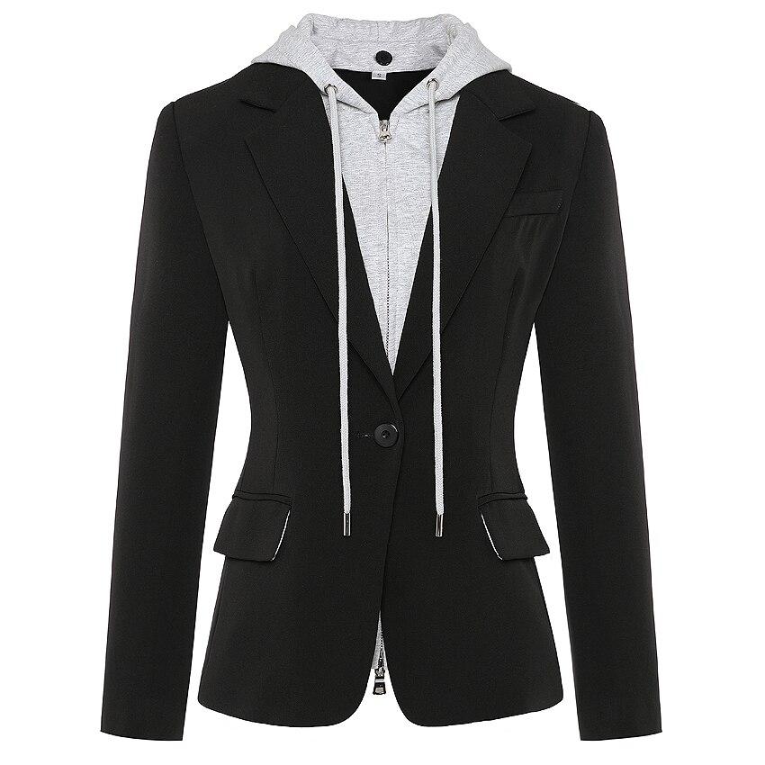 HIGH QUALITY Newest Fashion 2020 Designer Blazer Women's Zipper Detachable Hooded Single Button Casual Blazer Jacket Outer Wear