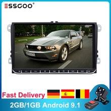 Essgoo-Autorradio con GPS para coche, reproductor multimedia con navegación, 9 pulgadas, 2 Din, Android, wifi, 2 + 32GB, para Volkswagen y VW