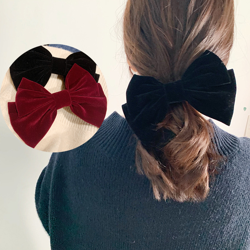 Fashion Solid Color Velvet Hair Bows Elastic Hair Bands Women Hair Ties Scrunchies Handmade Hair Clips Women Hair Accessories