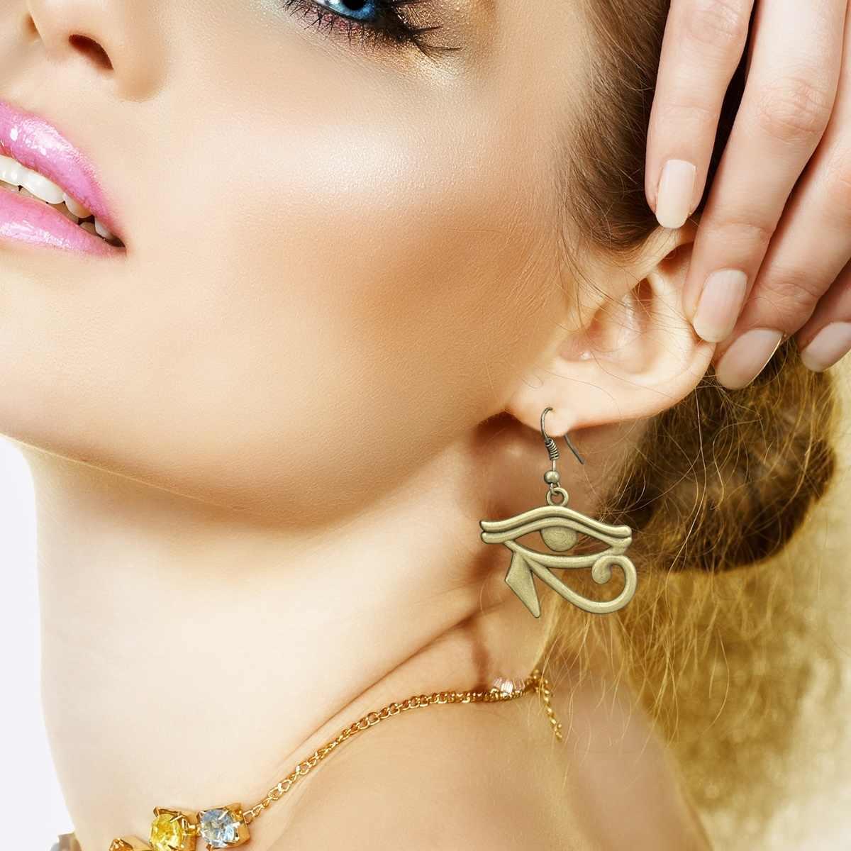 Женские винтажные серьги-подвески из нержавеющей стали, Винтажные висячие ювелирные украшения в форме коры, египетского глаз Орта, золотого цвета, подарок для женщин