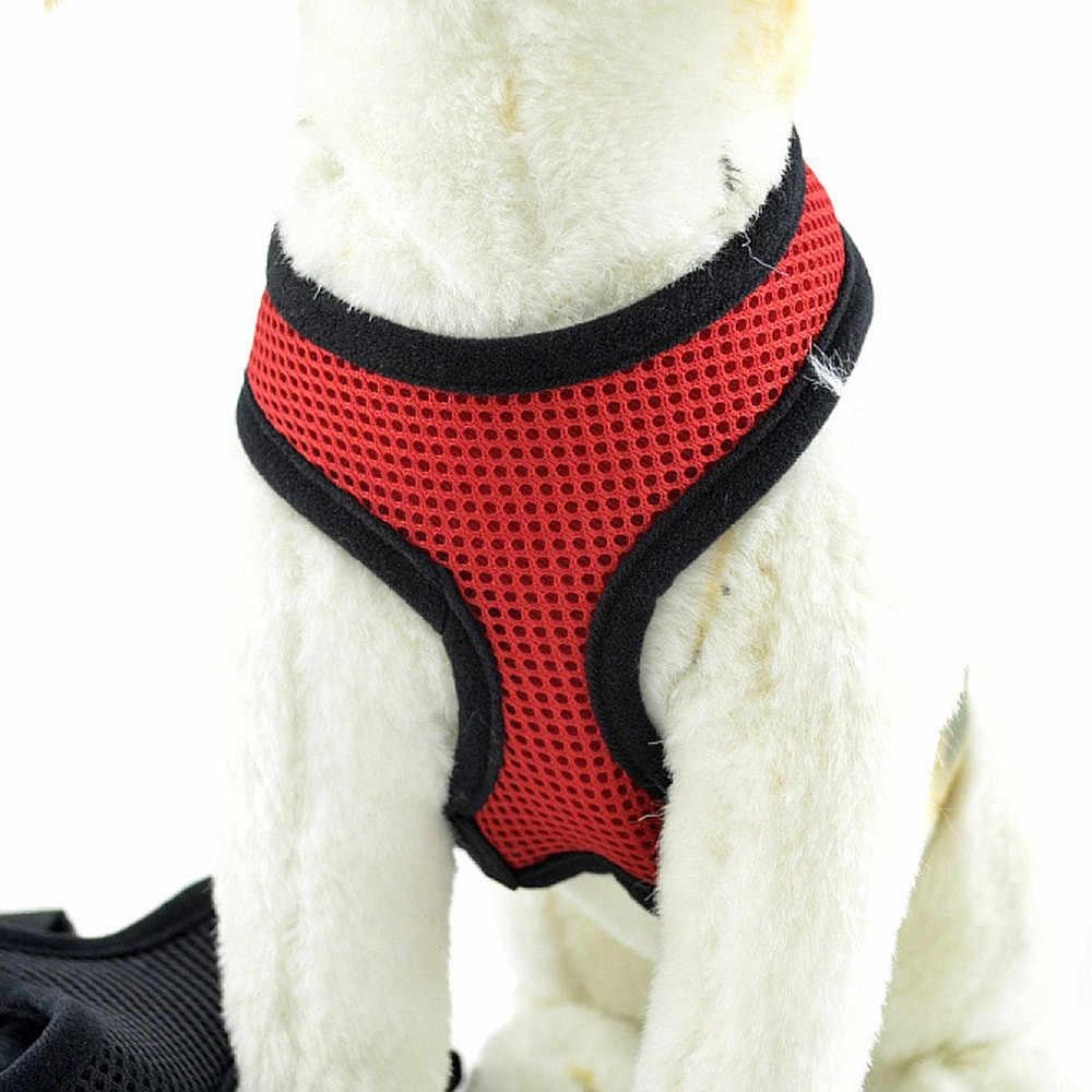 قابل للتعديل الحيوانات الأليفة شريط للصدر المقود سترة حبل لينة تنفس الكلب تسخير النايلون شبكة سترة تسخير للكلاب الحيوانات الأليفة طوق 2019 # LC