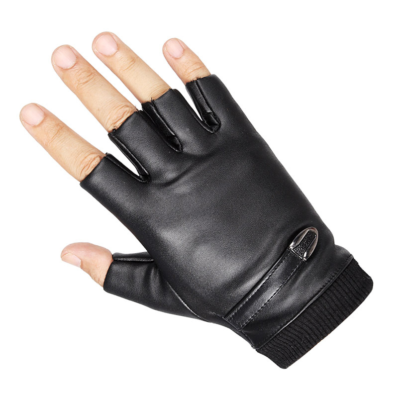 Fingerless Gloves Men PU Synthetic Leather Autumn Winter Gloves Black Tactical Half Finger Cycling Fitness Gloves Knitted Rib