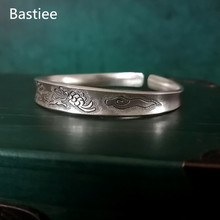 Bastiee Butterfly Bangles 999 Sterling Silver Bracelets For Women Hmong Jewellery Handmade Vintage Luxury Jewelry Ethnic Bangle uglyless real 999 silver fine jewelry women simple fashion thick bangles ethnic fish open bangle handmade engraved lotus bijoux