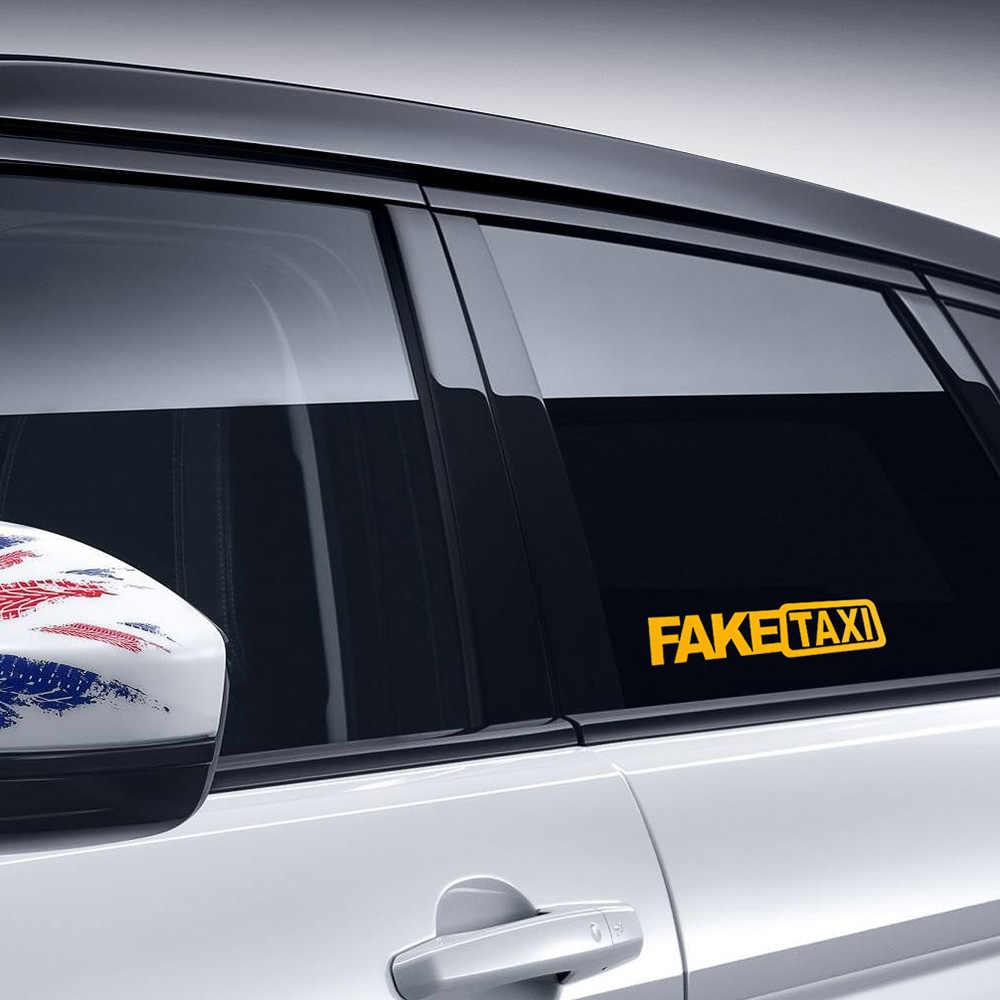 2Pcs Mobil Lucu Stiker Fake Taxi Reflektif Stiker Jendela Vinil Stiker Mobil Styling Perekat Emblem Mobil Stiker