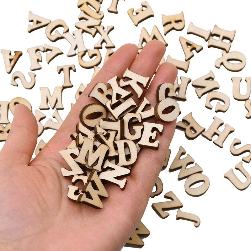 10-100pcs English Alphabet Letters Natural Wooden Number Decoration DIY Scrapbooking Household Decor Arts Crafts Letter Digital