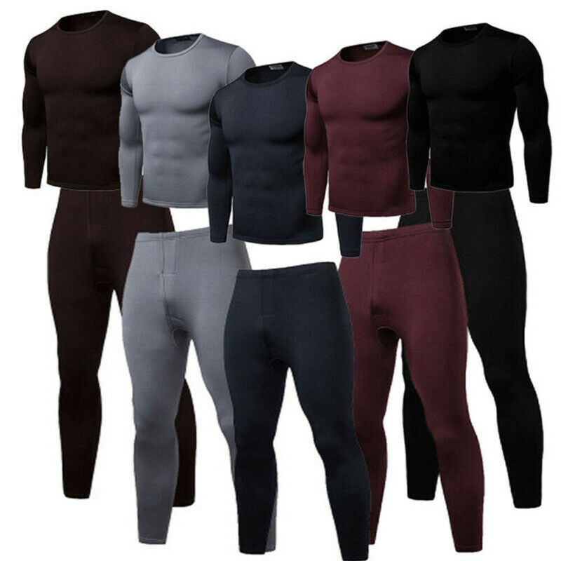 2020 2PCS Men Winter Warm   Pajama Sets Ultra-Soft Fleece Lined Thermal Top & Bottom Underwear Set