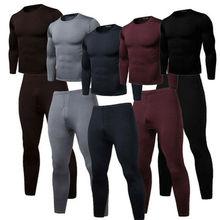Зима +Осень 2PCS Men Warm +Pajama Sets 2020 New Fashion Ultra-Soft Fleece Lined Thermal Top +% 26 Bottom Underwear Set