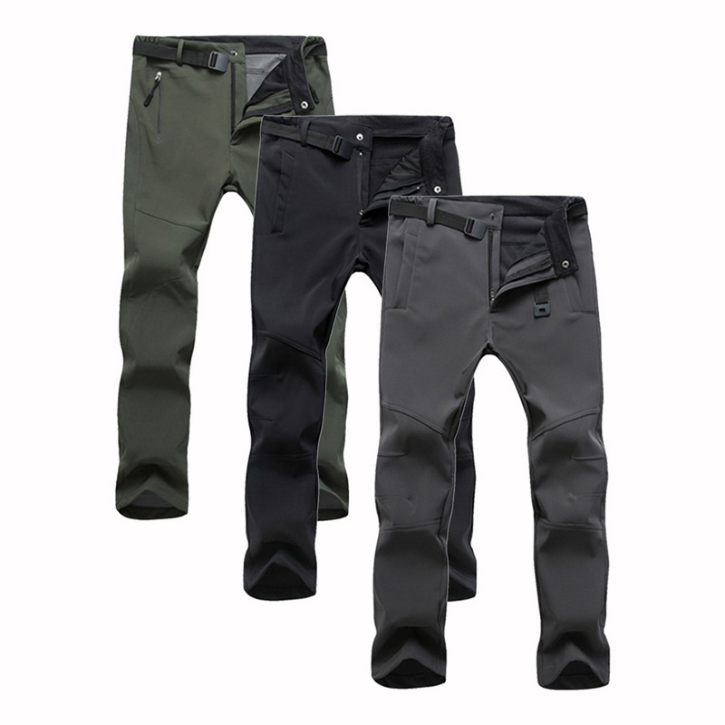 New Male Pants Fashion Men's Outdoor Winter Thicken Slim Fit Soft Fleece Thermal Waterproof Pants High Waist Pant