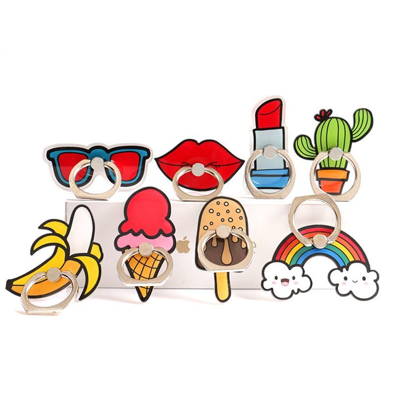 1PC Cute Mobile Phone Accessories Cartoon Red Lips Ice Cream Rainbow Cactus Mobile Phone Finger Ring Holder Bracket