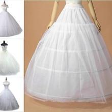 Petticoat Dress Crinoline Underskirt Wedding Adult White 3-Hoop New Adjustable-Size