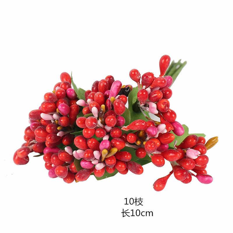 8/10/12/90/144 Pcs Emas Campuran Hybrid Bunga Cherry Benang Sari Buah Bundel DIY Kue natal Pernikahan Hadiah Kotak Karangan Bunga Deco