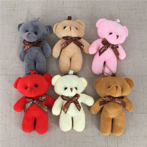 6Colors, Bear Stuffed Plush Toy Doll , 9CM Keychain Plush Gift Animal With Key Ring
