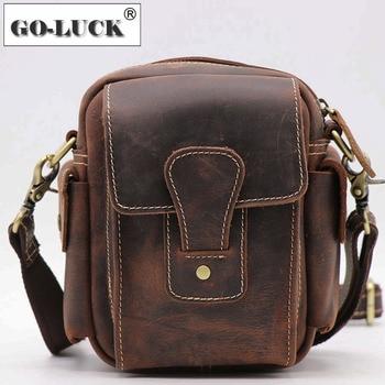 Men Functional Waist Belt Bag Genuine Leather Small Crossbody Shoulder Bag Male Top-handle Handbag Vintage Crazy Horse