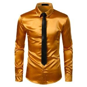 Image 5 - 2pcs כסף משי חולצה + עניבת Mens סאטן חלק טוקסידו חולצות מקרית לחצן למטה גברים שמלת חולצות מסיבת חתונה נשף תחתונית Homme