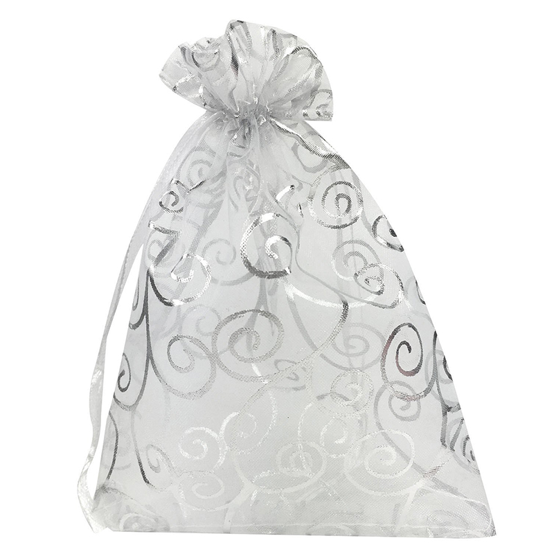100pcs 4x6 Inches Drawstrings Organza Gift Candy Bags Wedding Favors Bags (White With Silver)