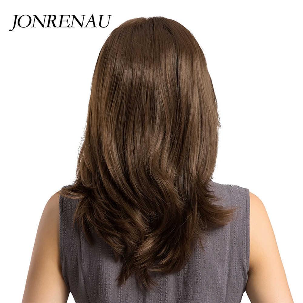 Jonrenau Hittebestendige Lange Natuurlijke Golf Haar Synthetische Bruin Haar Pruiken Met Pony Voor Wit/Zwarte Vrouwen