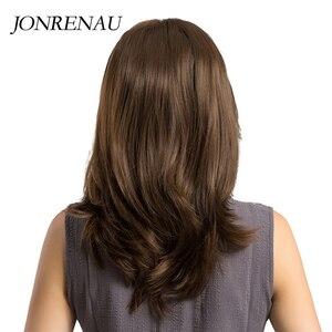 Image 3 - Jonrenau耐熱ロング自然なウェーブヘアー合成茶色の髪かつらのための前髪と白/黒女性