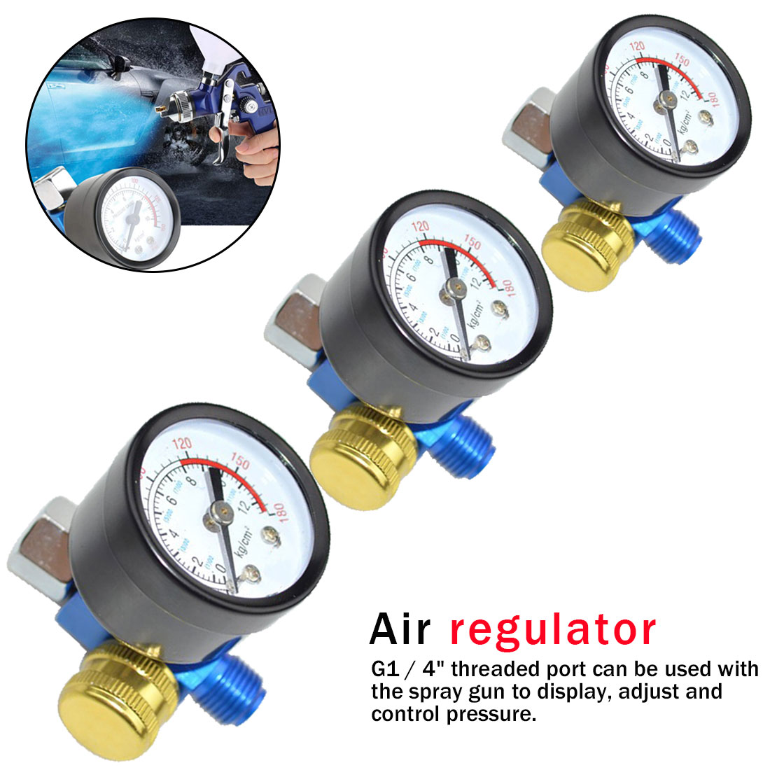 AETool HVLP Spary Gun Regulator Air Pressure Regulator Auto Paint Air Regulator Spray Gun Adjustable Regulating Gauge Air Tool