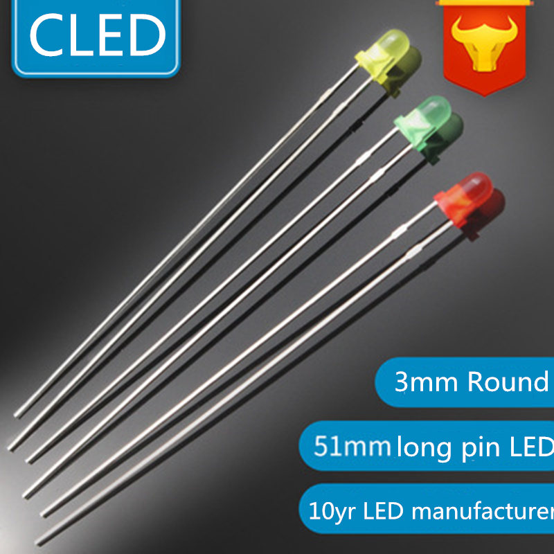 1000pcs 3mm White Diffused Round High Power Bright LED Leds Light Long Pins