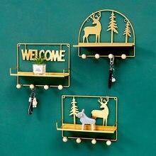 Willkommen und Deer Lagerhalter & Racks Hinter Türen Linving Zimmer Eisen Home Deco Schlüssel Handtuch Kleinigkeiten Lagerung Racks Gold