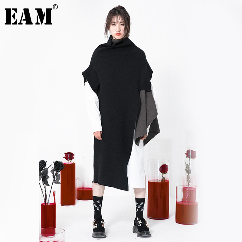 [EAM] Asymmetrical Big Size Knitting Sweater Loose Fit Turtleneck Long Sleeve Women Pullovers New Fashion Tide Spring 2020 1N697