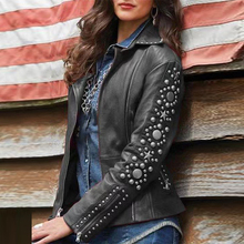 Women PU coat Gothic Punk autumn Winter Motorcycle Slim Jacket solid sexy cool l