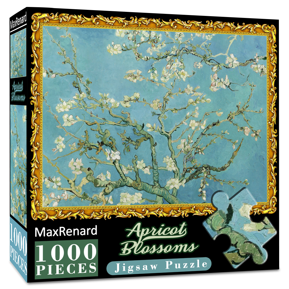 MaxRenard 50*70cm Jigsaw Puzzles 1000 Pieces Van Gogh Apricot Blossoms Wooden Assembling Puzzles for Adults Picture Masterpiece