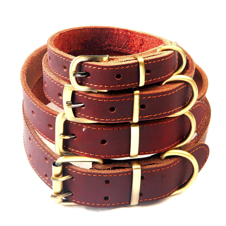 Cattle Hide Pet Collar Pet Bandana Brass Buckle Full-grain Leather Dog Neck Ring Cattle Hide Neck Band