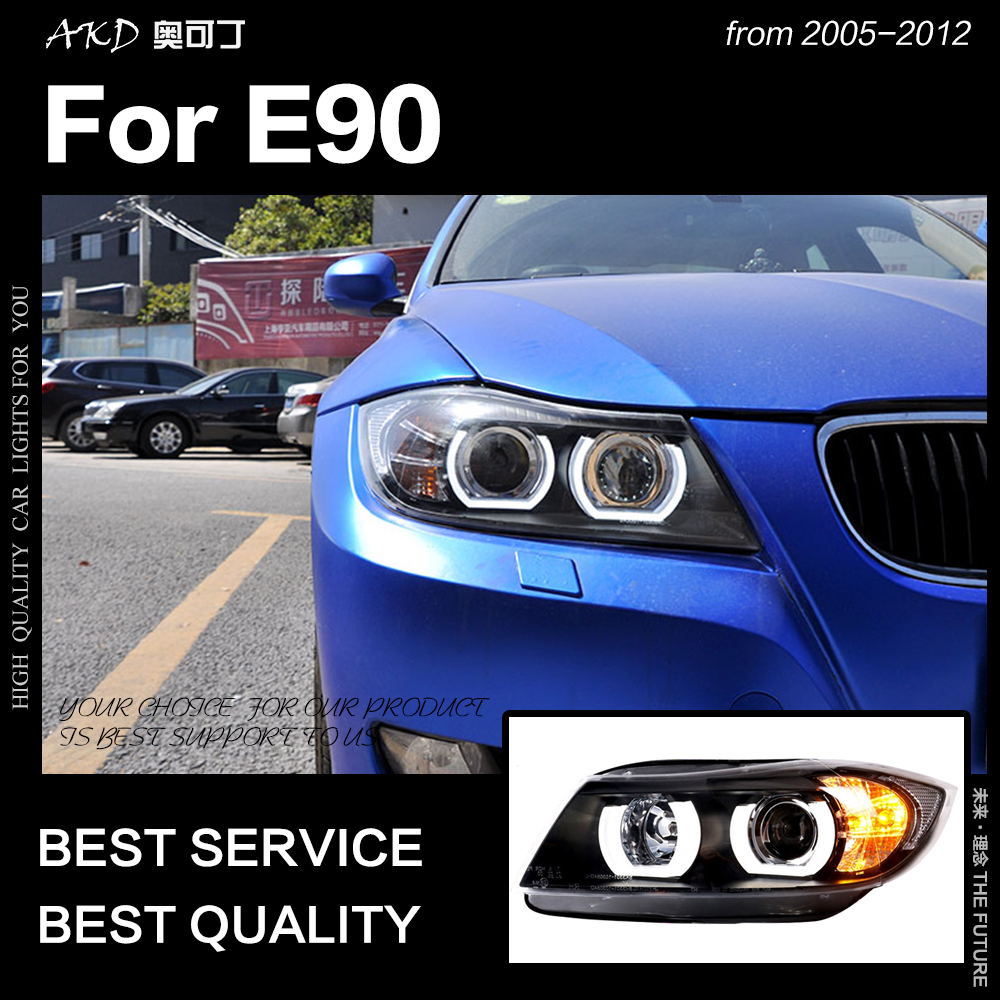 AKD Car Styling for E90 Headlights 2005-2012 320i 318i 323i 325i Headlight DRL Hid Head Lamp Angel Eye Bi Xenon Beam Accessories image