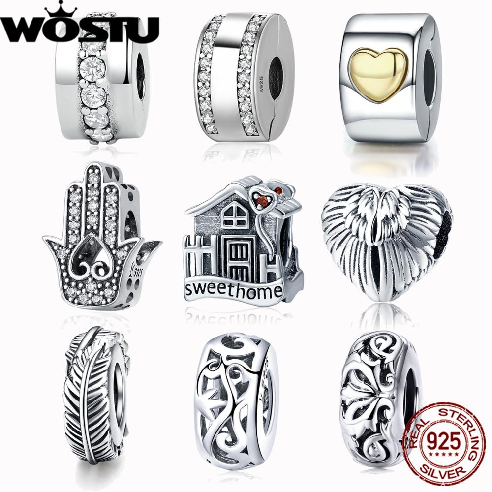 WOSTU Bracelet Pendant Jewelry Beads Charm 100%925-Sterling-Silver Original Gold-Color