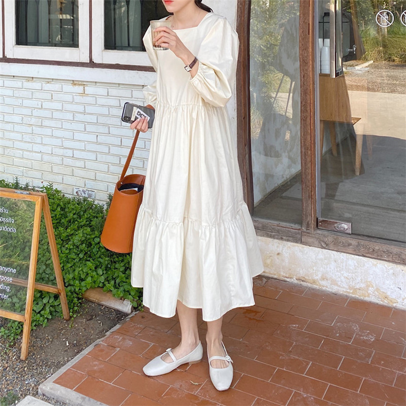 H3f950deca61140319a5caec97e6e4a33Y - Spring / Autumn Square Collar Long Lantern Sleeves Loose Solid Midi Dress