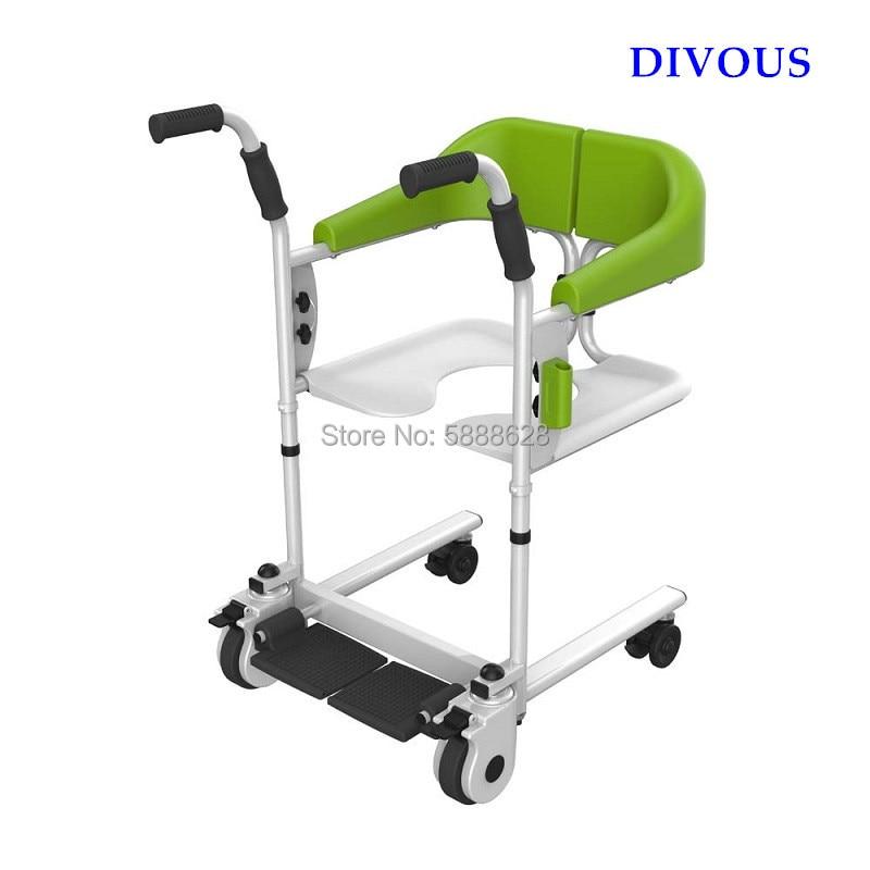 Лидер продаж кресло-каталка с ручным приводом, туалетная комод стул супер светильник подшипник 120 кг для пожилых людей с ограниченными возм...