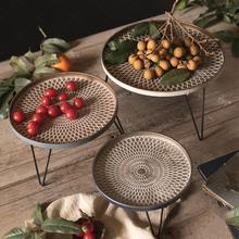 Estantes de bandeja redonda de hierro Vintage Industrial de frutas forjado Snack comida postre bandeja de almacenamiento escritorio hogar restaurante Decoración