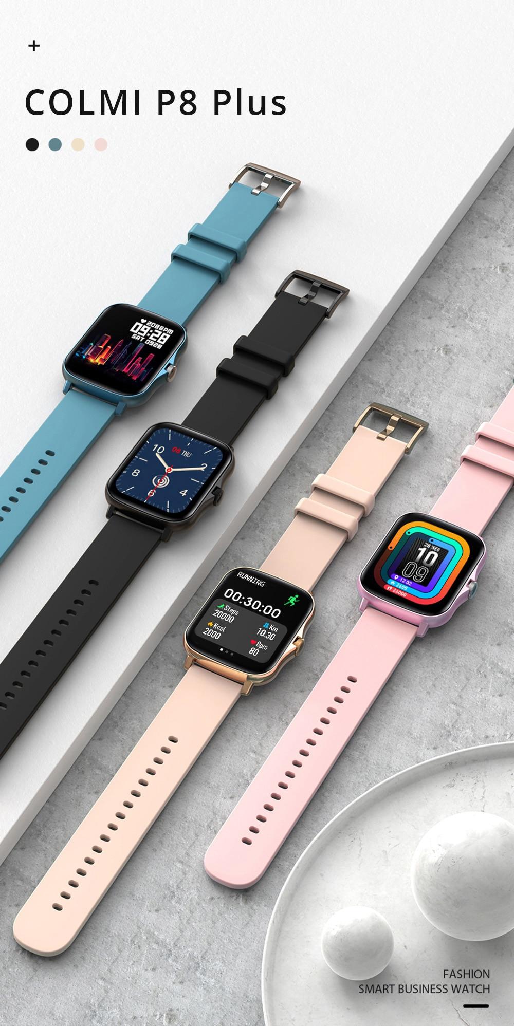 H3f95356212bd4db7aef8b9e21050e712c COLMI P8 Plus 1.69 inch 2021 Smart Watch Men Full Touch Fitness Tracker IP67 waterproof Women GTS 2 Smartwatch for Xiaomi phone