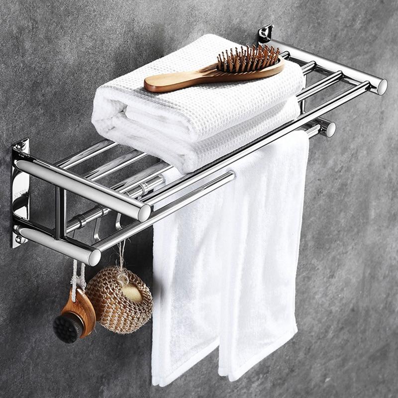 304 Stainless Steel Bathroom Towel Holder Home Hotel Accessories Hardware Set Organizer Wall-mounted Towel Rack New Towel Hanger