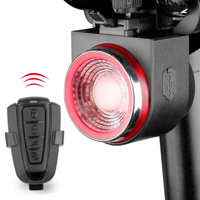 USB Bicycle Safety Wireless Rear Light Alarm Remote Control Anti-theft Lock Lamp