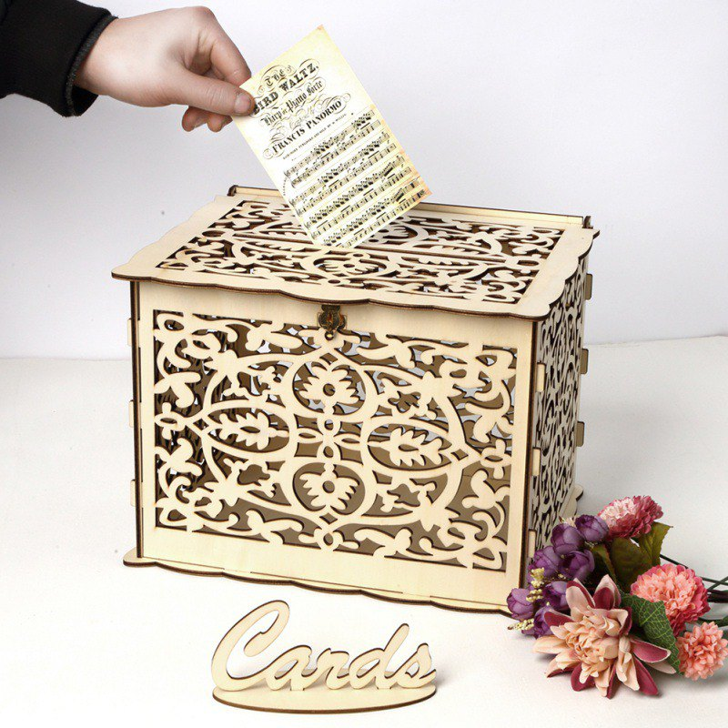 DIY Wedding Gift Card Box Wooden Money Box With Lock Beautiful Wedding Decoration Supplies For Birthday Party
