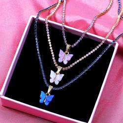 New Fashion Luxury Bling Cubic Zirconia Choker Necklace for Women Multicolor Acrylic Butterfly Pendant Necklaces Party Jewelry