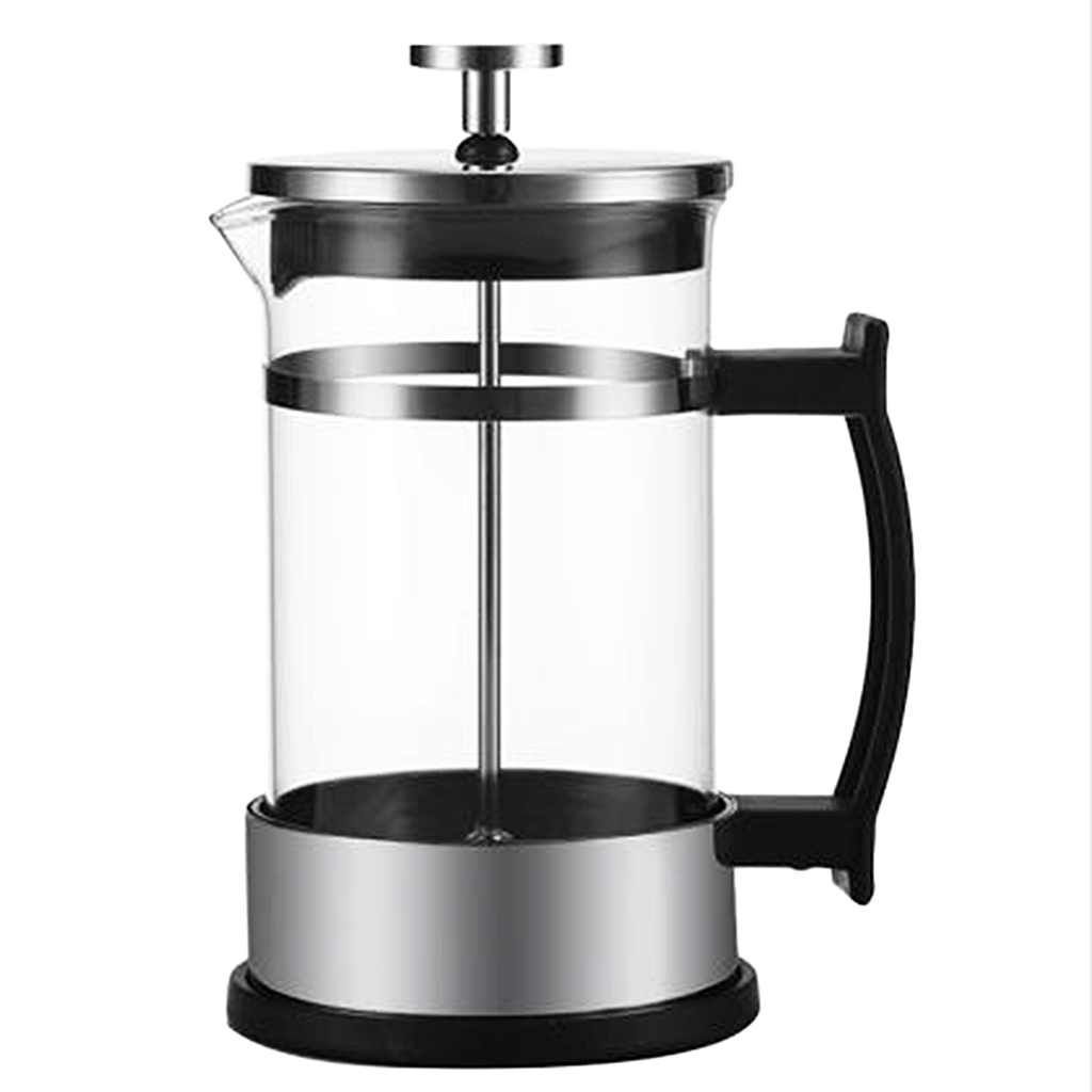 Stainless Steel Glass French Press Cafetiere Tea Coffee Make, 350ml Clear 1-2Cup