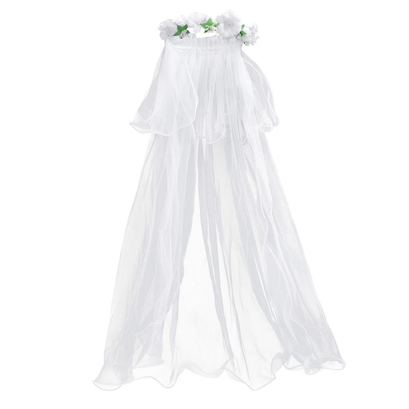Two Layers White Wedding Veils Flower Girl Bridal Veils Communion Hair Wreath For Kids Bride Marriage Wedding Accessories