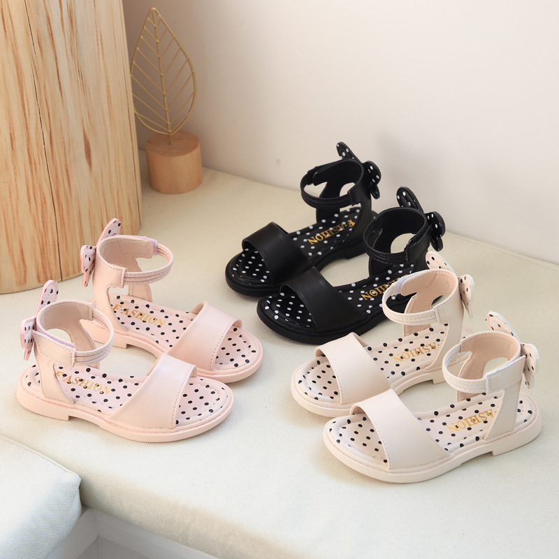 Girls Sandals 2020 Summer New Style Soft Bottom Bow Girl Pary Shoes Dot Princess Shoes Fashion Non-slip Beach Shoes Kids D01091
