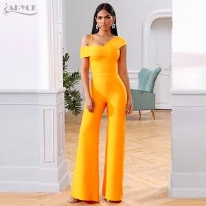 Image 2 - Adyce 2020 חדש קיץ תחבושת סטי נשים שמלת Vestido פסים חולצות & מכנסיים 2 שתי חתיכות סט הלילה החוצה סלבריטאים ערב מסיבת סטים