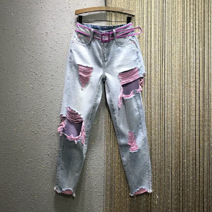 Holes Jeans For Woman 2020 Spring Summer New Style Color With Holes Beggar Jeans Girls Ladies Casual Edges Capri Denim Pants