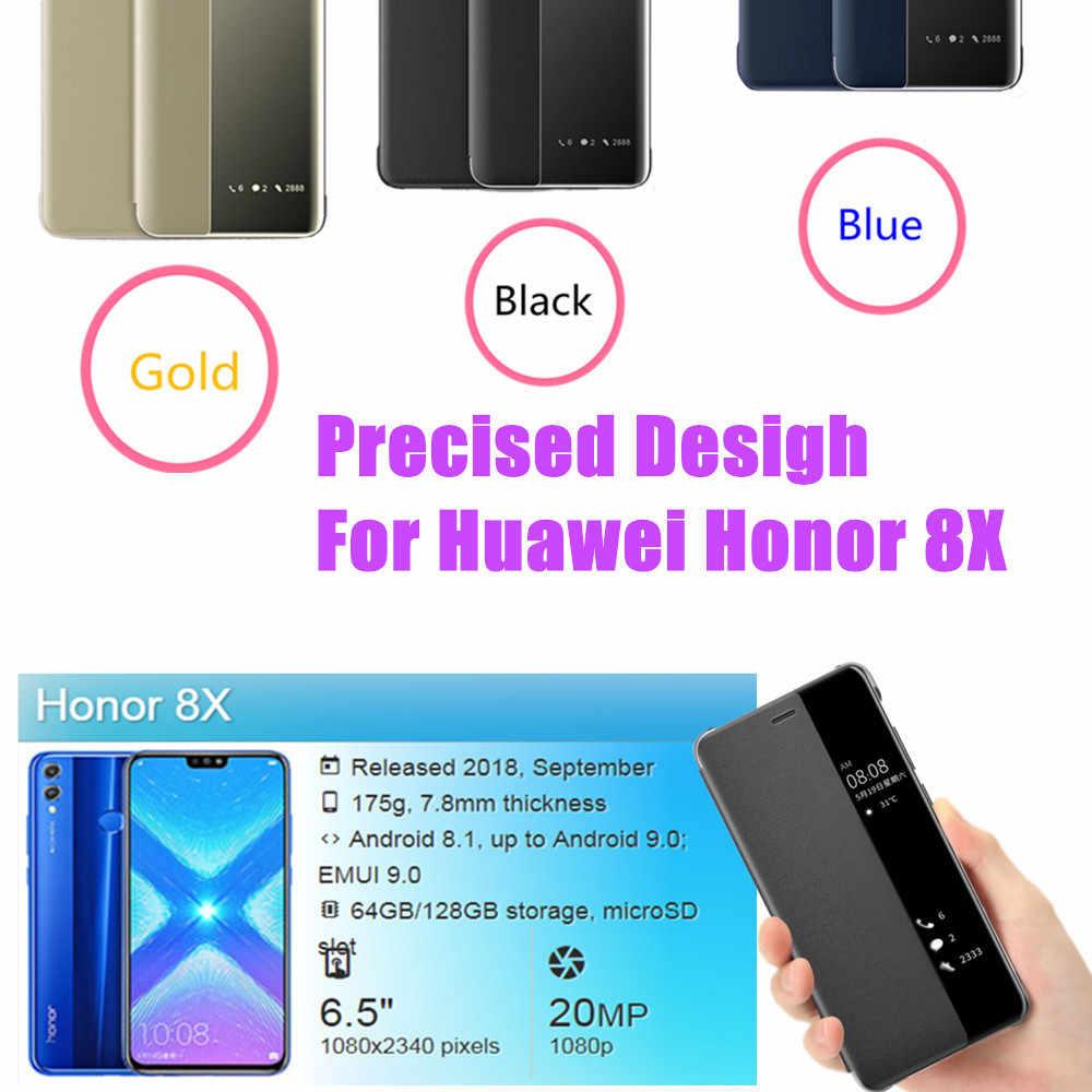 8X Kasus untuk Huawei Honor 8 X Bumper Honor 8X Penutup Telepon Huavei Huaway Flip Sview Berdiri Mewah X8 8 Xcase coque Funda Gal