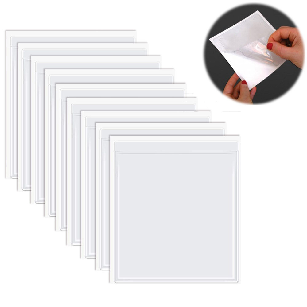 20pcs Clear Self-adhesive Pockets For Scrapbooking Planner Label Pockets