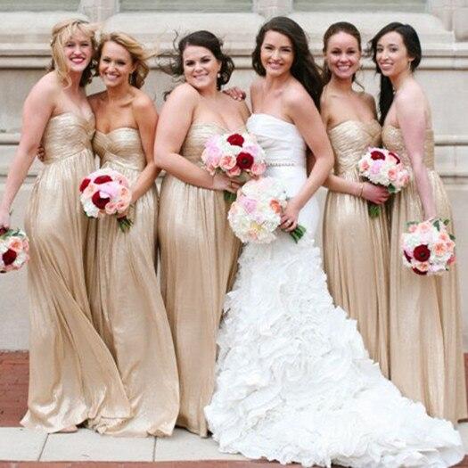 Fashion Gold A-Line Bridesmaid Dresses Sweetheart Maid Of Honor Dresses Sleeveless For Sale Vestidos De Dama De Honor 2015 BD01