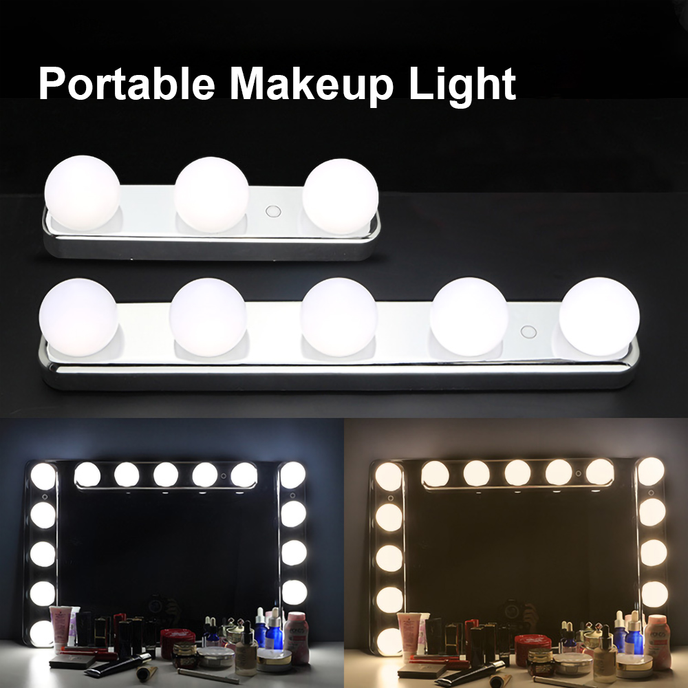 LEDGLE USB Stepless Mirror Light 5 LED Bulbs Vanity Light Color Temperature Adjustable Hollywood Make Up Light Battery Powered